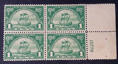 1924 United States block of 4 x 1c green Huguenot-Walloon Tercentary stamps Mint