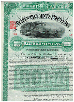 Atlantic and Pacific RR Co., 1887, Gold-Bond 1000$, unc/ cp, COX ATL-732-B-50