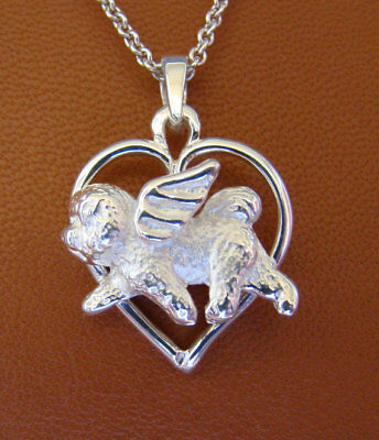 Small Sterling Silver Bichon Frise Angel On A Heart Frame Pendant