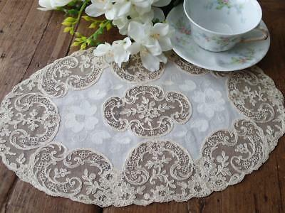 Stunning! Large Oval ANTIQUE Fancy French Lace Doily 14x9