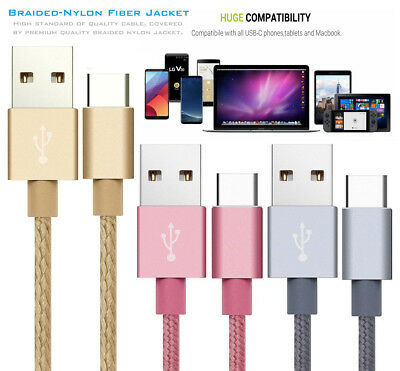 Strong Braided Nylon Fast USB C 3.0 Type C Data Sync Charger Charging Cable Lead