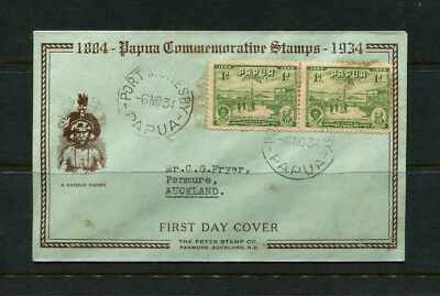 Papua 1934 Jubilee Fdc First Day Stamp Cover British New Guinea Pair 1D Green