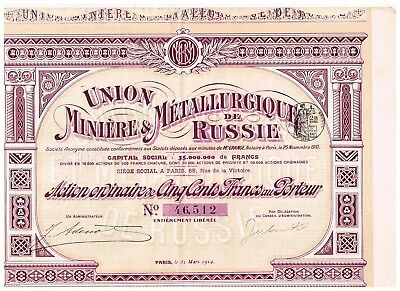 Union Miniere...de Russie, Paris 1914, 500 FF