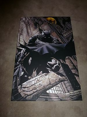 """BATMAN on rooftop 24"""" x 36"""" CANVAS print AWESOME GIFT, VERY LARGE Dark Knight"""