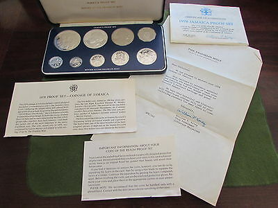 1978 Jamaica Proof Set Franklin MInt $10 Sterling Silver Coin Blue Box COA