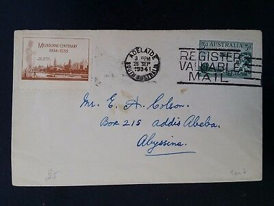 Rare 1934- Australia 3 d Green Air mail Stamp cover to Abyssinia with Cinderella