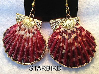 24k GOLD PLATED RED SCALLOP  SEASHELL DANGLE EARRINGS 80's VINTAGE