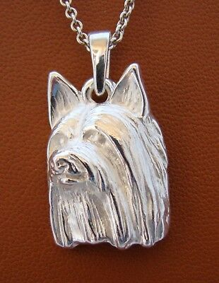 Large Sterling Silver Silky Terrier Head Study Pendant