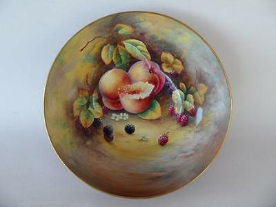 Antique Vintage Hand Painted Paragon Fruit & Gold Blue Bowl Signed A Holland