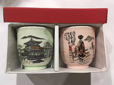 Japanese Golden Pavilion / Maiko Tea Cup Set Green Pink Made in Japan  F/S