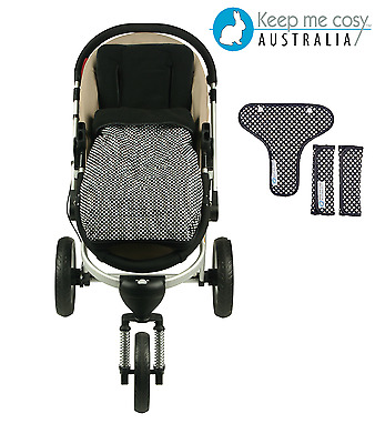 Keep Me Cosy™ 2 in 1 infant Footmuff + Pram Liner set FREE Harness - ink Spot