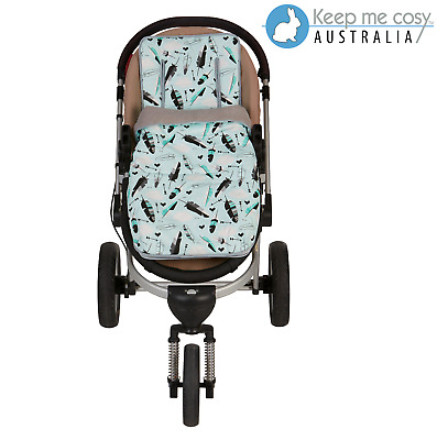 Keep Me Cosy™ Pram Liner + infant Footmuff set exclusive design - Aqua Feather