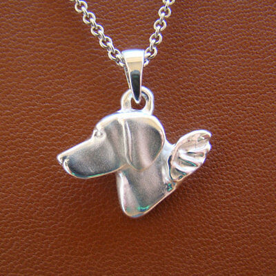 Small Sterling Silver Weimaraner Angel Pendant