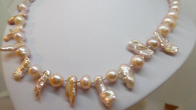 Freshwater Pearl & Keshi Pearl  Peach Necklace with magnetic clasp.