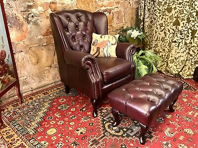 Vintage Chesterfield Leather MOROSO Wingback Armchair~Chair + FootStool