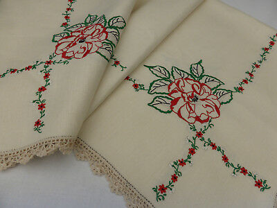 Vintage Ecru Linen Tablecloth-Hand Embroidered Large Red Roses & Gypsophila
