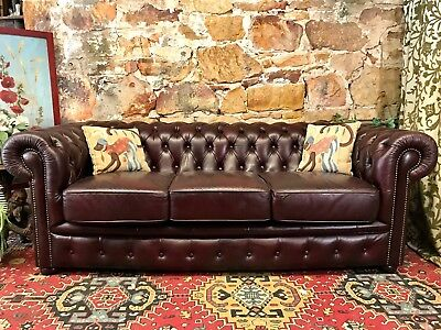 Vintage Chesterfield Leather MOROSO 3 Seater Lounge Chair~Sofa~Burgundy