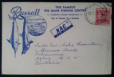 """SCARCE 1965 New Zealand """"Russell Fishing"""" Cover ties 7d red stamp canc Russell"""