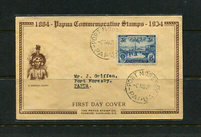 Papua 1934 Jubilee Fdc First Day Stamp Cover British New Guinea 3D Blue Sg148