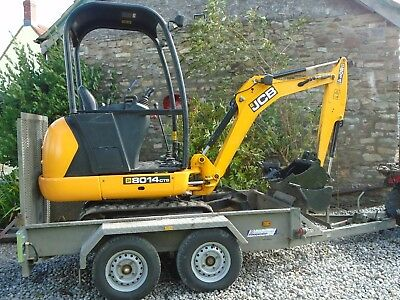 JCB MINI DIGGER 8014 EXCAVATOR 1.5 ton,2014, 3 new buckets with plant trailer