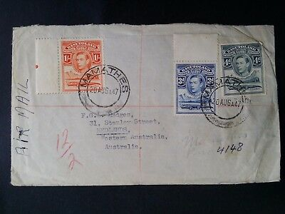 SCARCE 1947 Basutoland Airmail Cover ties 3 x KGVI stamps canc Mamathes