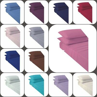 """Non Iron Percale Extra Deep Fitted Sheets 16""""/40CM Pair of Pillowcase 3 Sizes"""