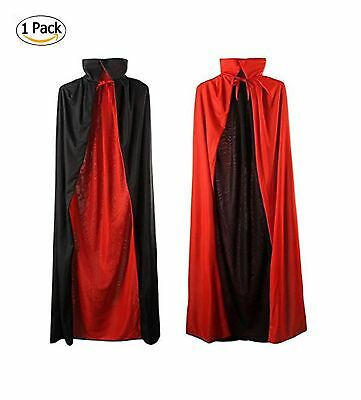 35'' Black and Red Halloween Cloak Magician Cape Cosplay Costumes for Boys Gi...
