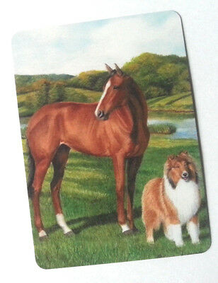 Swap / Playing Card ~ Horse Standing With Collie Dog ~ Modern Wide ~ Linen
