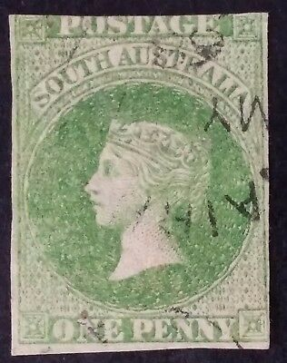 Rare 1856- South Australia 1 d Yellow Green Imperf? First Sideface Stamp Used