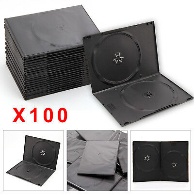 100 Slim Cases Style Black Double DVD Cases