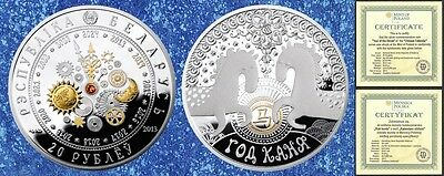 BELARUS - gold plated silver with Swarovski crystal 20 rubles 2014 & COA