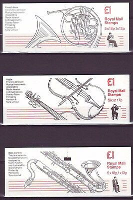 Qe Ii Gb 1987/88 Musical Instruments 3 Booklets Fh5-Fh7  £1 Mnh Low Shipping