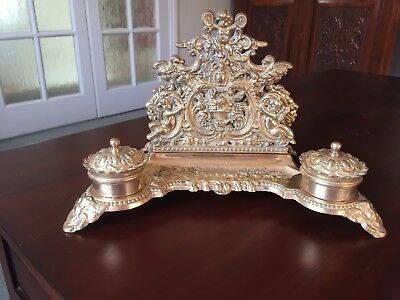 Beautiful ornate vintage brass letter rack, pen holder and ink wells