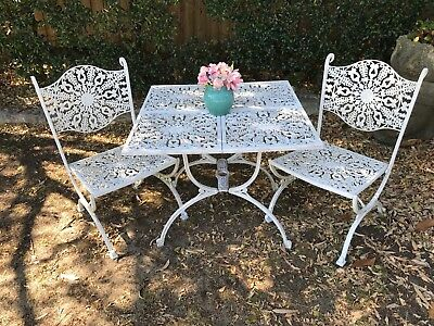 French Louis Style 3 pce Outdoor Dining Suite~Chair~Table~Cast Metal Lace~RARE