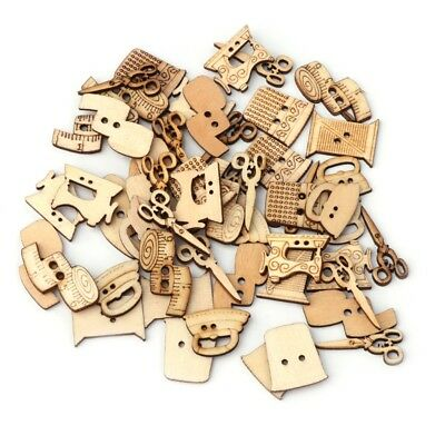 50Pcs Mixed Sewing Machine Kit 2 Holes Wooden Button DIY Scrapbooking Craft