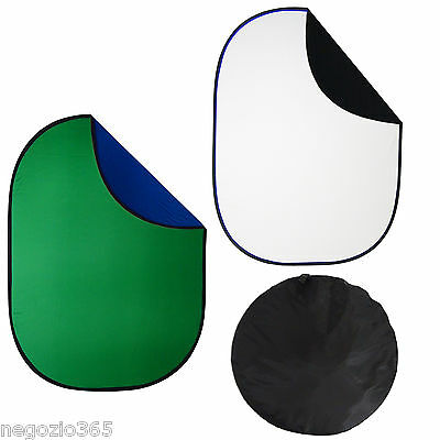 Kit 2 Fondo Profesional 2in1 150x200cm Blanco/Negro + Azul/Verde Plegable Video