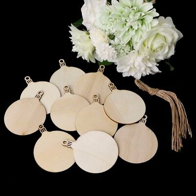 10pcs Wood Tags Christmas Balls Art Decor Crafts Ornaments DIY Scrapbooking Gift