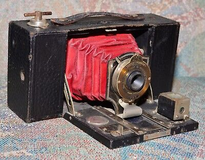 Kodak No2 Folding Pocket Brownie Camera-RED Bellows - 1906=110 years old.