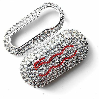 FIAT 500 KEY COVER Red Silver DIAMANTÉ Girly Car Accessories Bling Punto Bravo