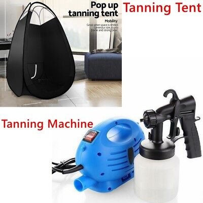 New Spray Tan Machine Solution Fake Tanning Kit Airbrush With Pop Up Tent Black