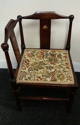 Antique Early 20th century Childs Corner Chair with Inlaid Art Nouveau Motifs