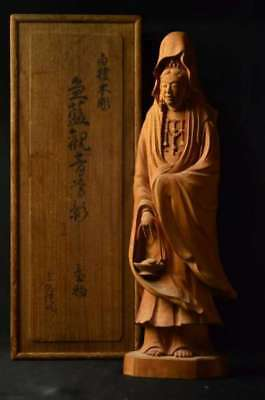 Antique Kannon statue sandalwood wood carving joint box