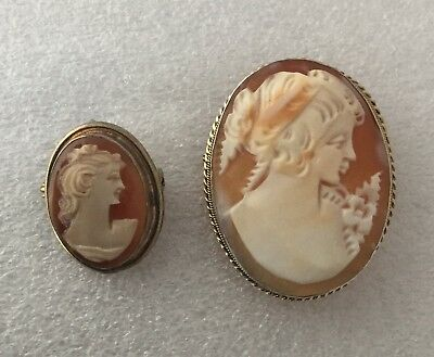 2 Vintage Carved Shell Cameo Pendant/brooches, One 9 Carat Gold, 6.6 Grams