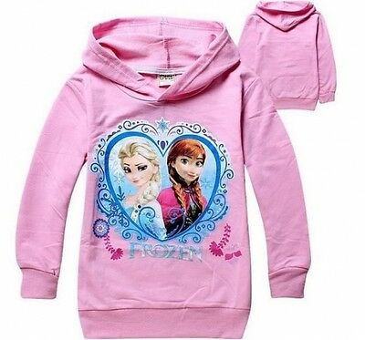 frozen anna and elsa thin hooded baby pink jumper top birthday present gift