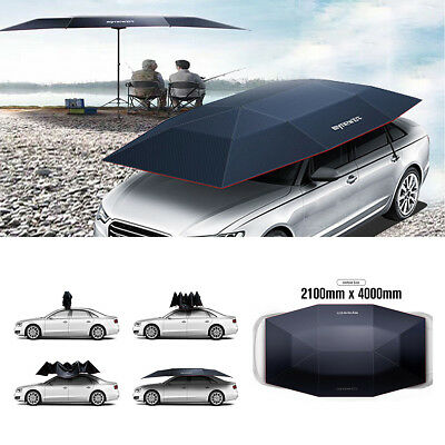 Mynew Portable Outdoor Removable Semi-automatic Car Umbrella Sunshade Roof Cover