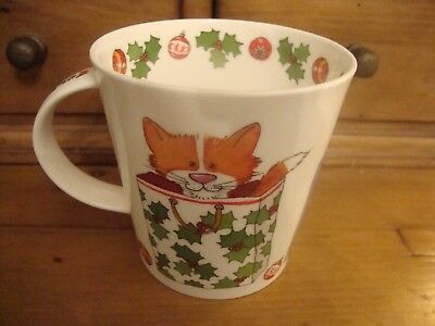 A Large Dunoon Mug Cairngorm Xmas Cats New With Sticker To Base