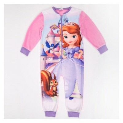 Disney Princess Sofia the First 1st Fleece Pyjamas All In One Girls Girl PJs