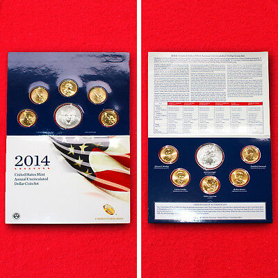 2014 UNITED STATES MINT ANNUAL UNCIRCULATED DOLLAR COIN SET+.999 1ozSILVER EAGLE