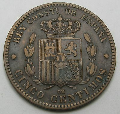 SPAIN 5 Centimos 1878 OM - Bronze - Alfonso XII. - VF - 3547
