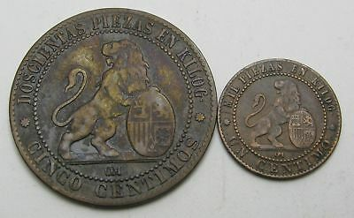 SPAIN 1, 5 Centimos 1870 OM - Copper - Provisional Government - 2 Coins. - 3549
